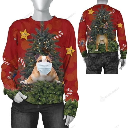 christmas time bulldog with face mask ugly sweater 2