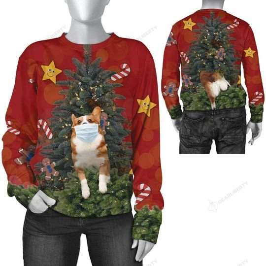 christmas time corgi with face mask ugly sweater 3 - Copy