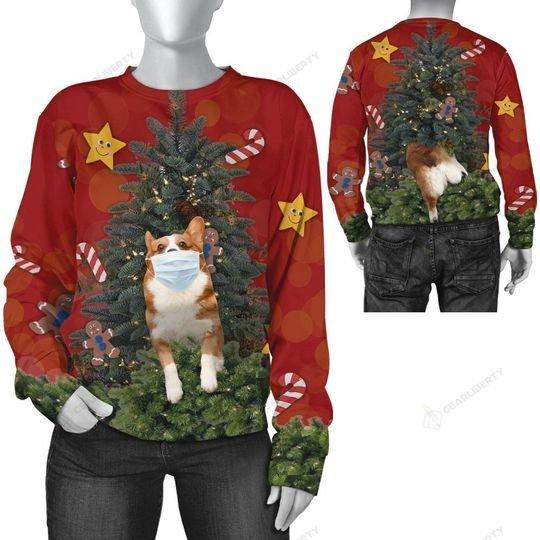 christmas time corgi with face mask ugly sweater 3