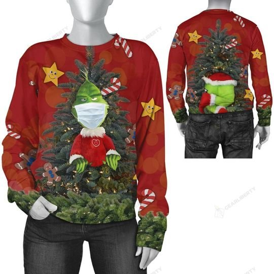 christmas time grinch with face mask ugly sweater 2 - Copy (3)