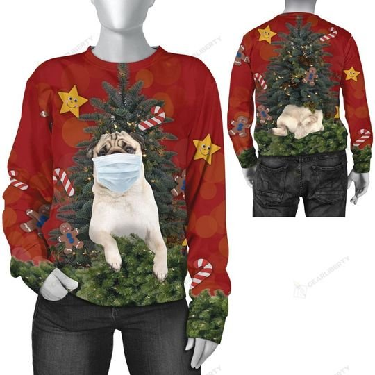 christmas time pug with face mask ugly sweater 2