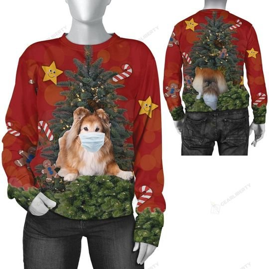 christmas time shetland sheepdog with face mask ugly sweater 2
