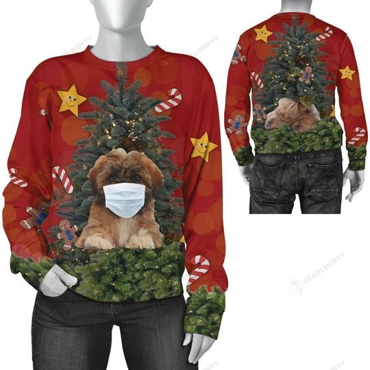 christmas time shih tzu with face mask ugly sweater 2