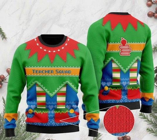 christmas time teacher squad ugly sweater 2