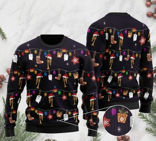 christmas trumpet full printing ugly sweater 2