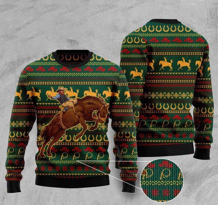 cowboy christmas full printing ugly sweater 2