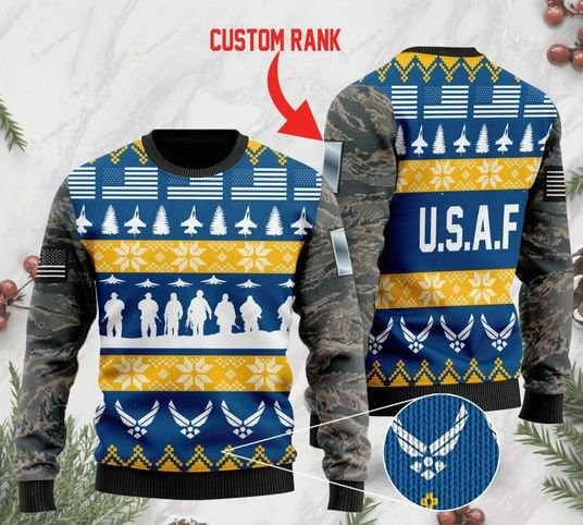 custom rank the united states air force full printing ugly sweater 2