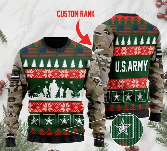 custom rank the united states army full printing ugly sweater 2