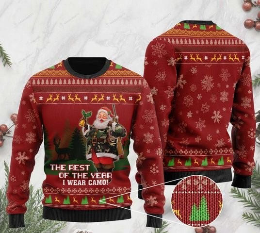 deer hunter and santa claus the rest of the year i wear camo ugly sweater 2 - Copy (2)