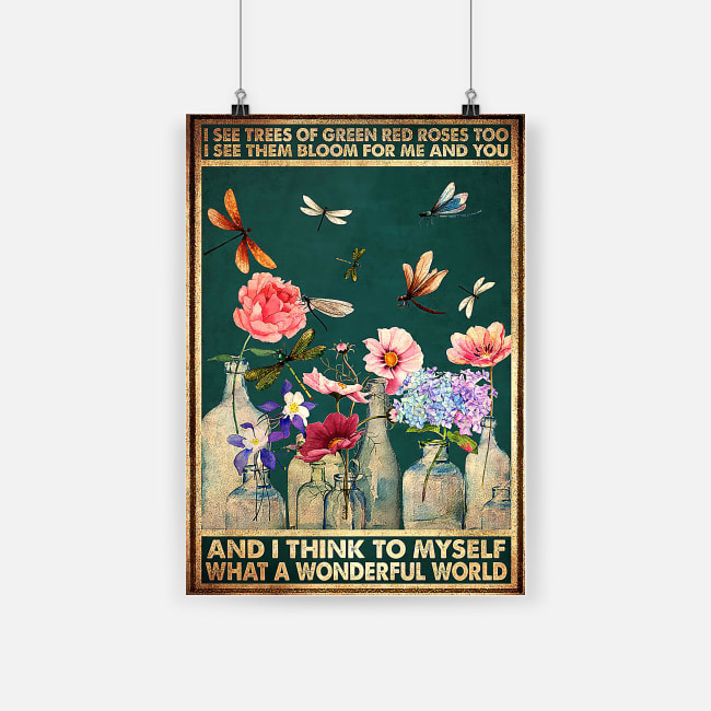 dragonfly and flower i see trees of green red roses vintage poster 1