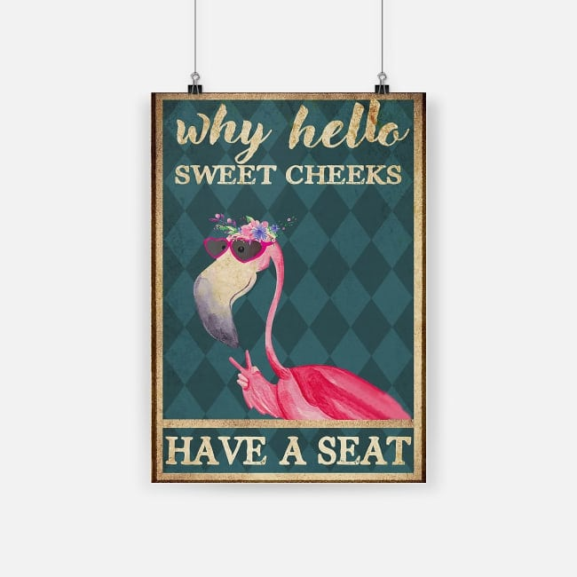 flamingo why hello sweet cheeks vintage poster 1