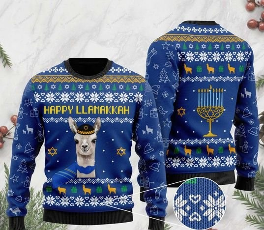 happy llamakkah christmas day ugly sweater 2
