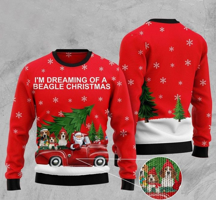 im dreaming of a beagle christmas full printing ugly sweater