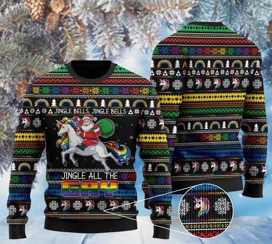 jingle bells jingle bells jingle all the gay with santa and unicorns ugly sweater 2