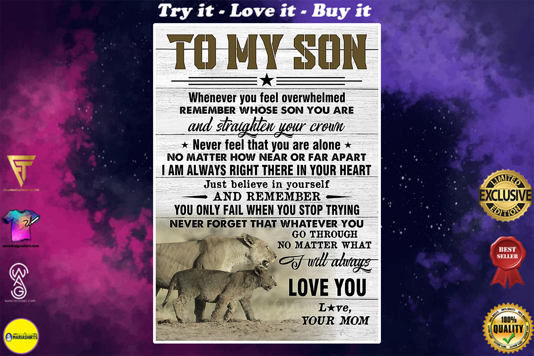 lion to my son just believe in yourself i will always love you your mom poster