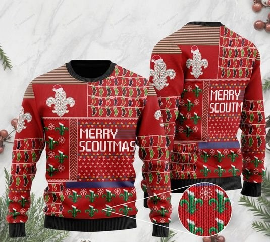 merry scoutmas christmas time full printing ugly sweater 2