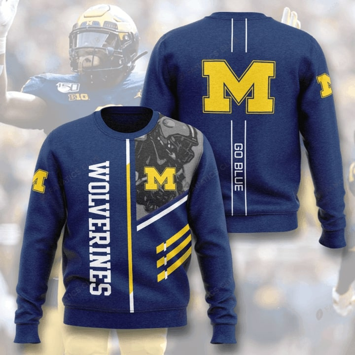 michigan wolverines football go blue full printing ugly sweater 3