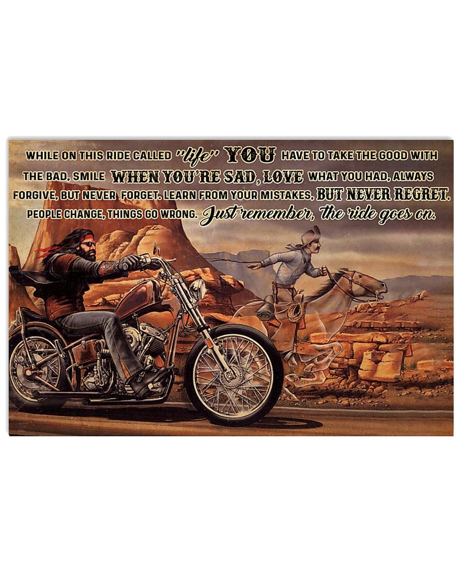 motorbike and horse ride while on this ride called life you have to take the good with the bad poster 1