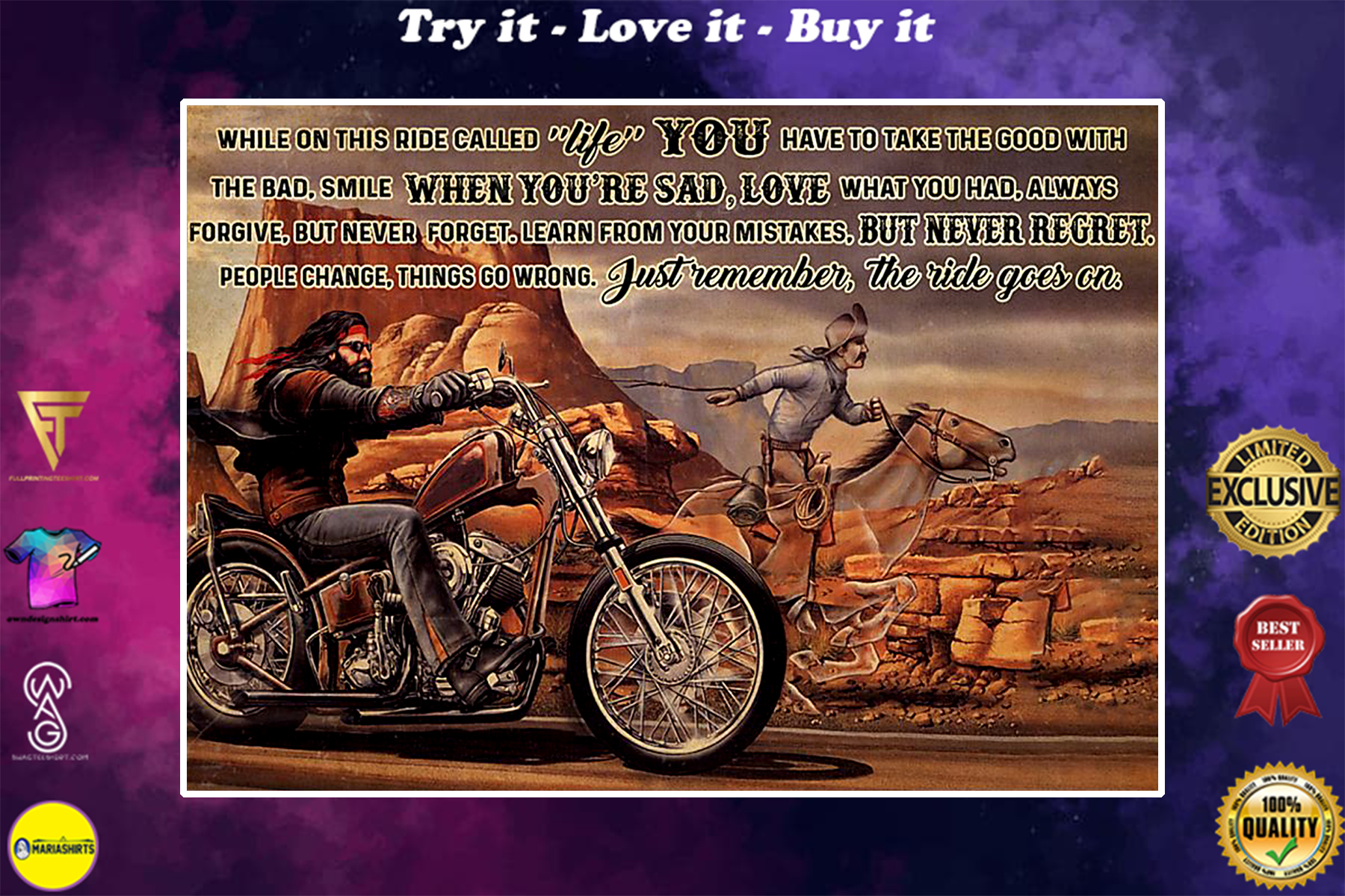 motorbike and horse ride while on this ride called life you have to take the good with the bad poster