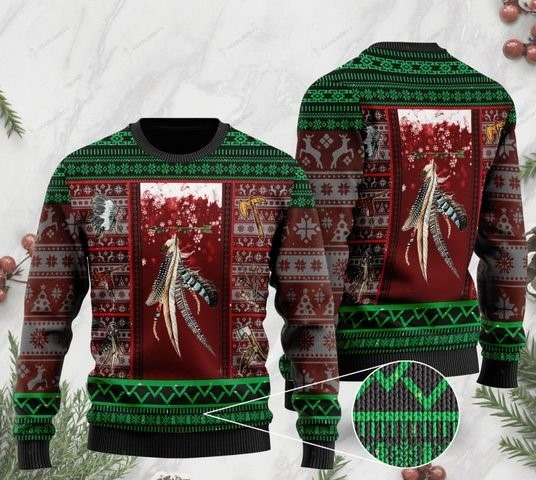 native americans on christmas days full printing ugly sweater 2