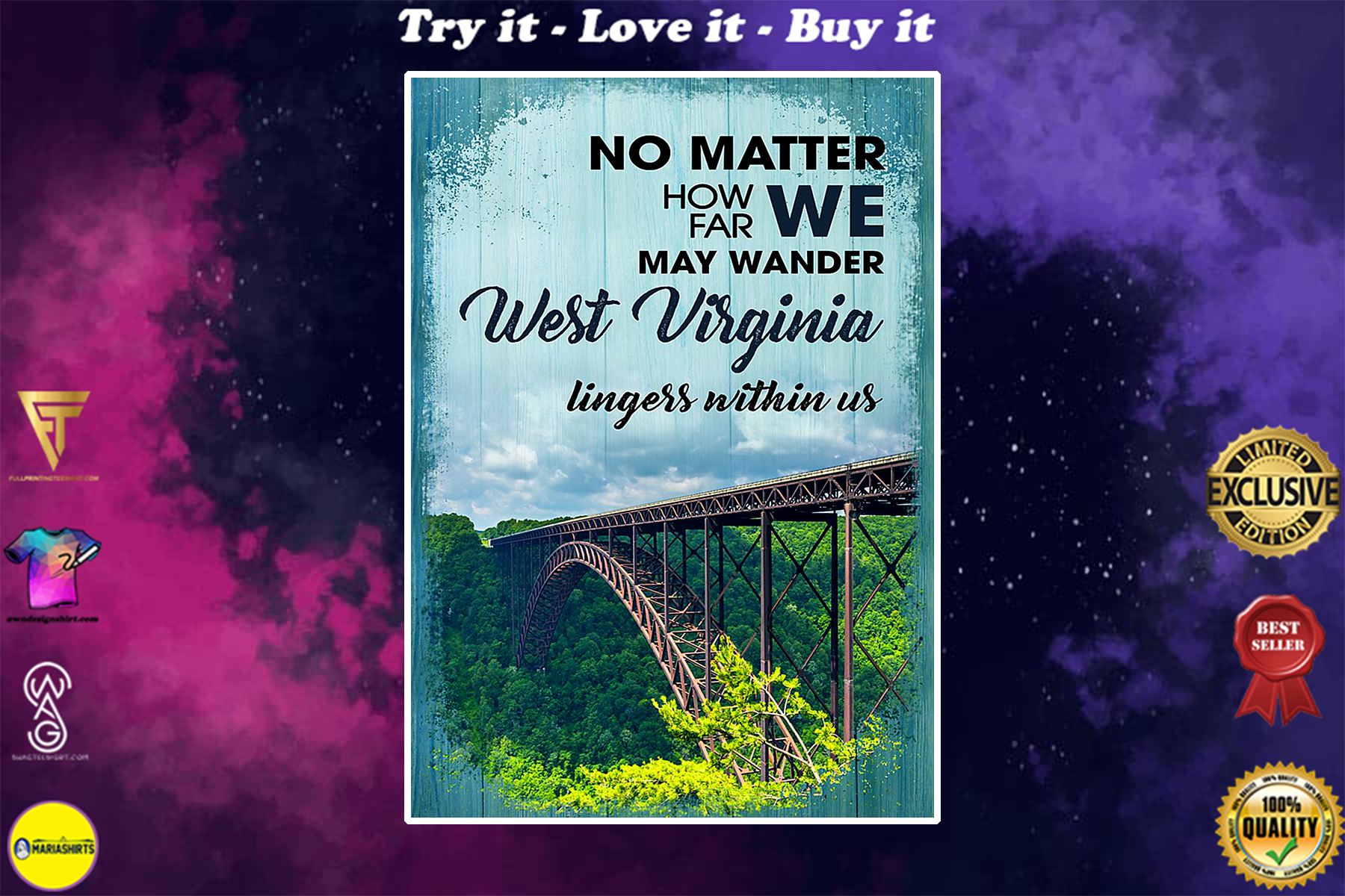 no matter how far we may wander west virginia lingers within us poster