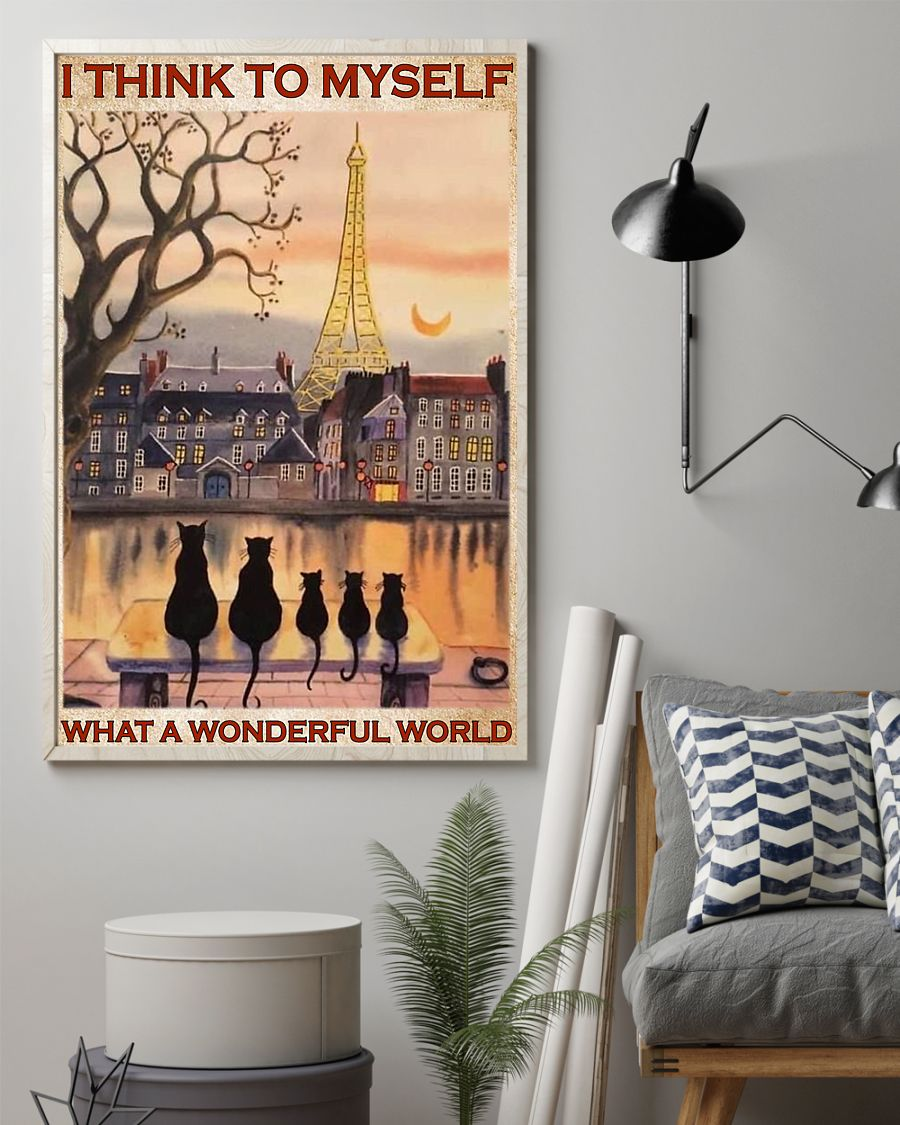 paris and cats i think to myself what a wonderful world poster 2