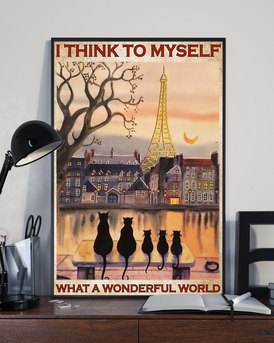 paris and cats i think to myself what a wonderful world poster 3