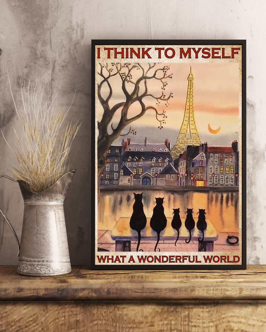 paris and cats i think to myself what a wonderful world poster 4