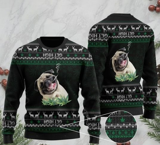 pug get high cannabis full printing ugly sweater 2