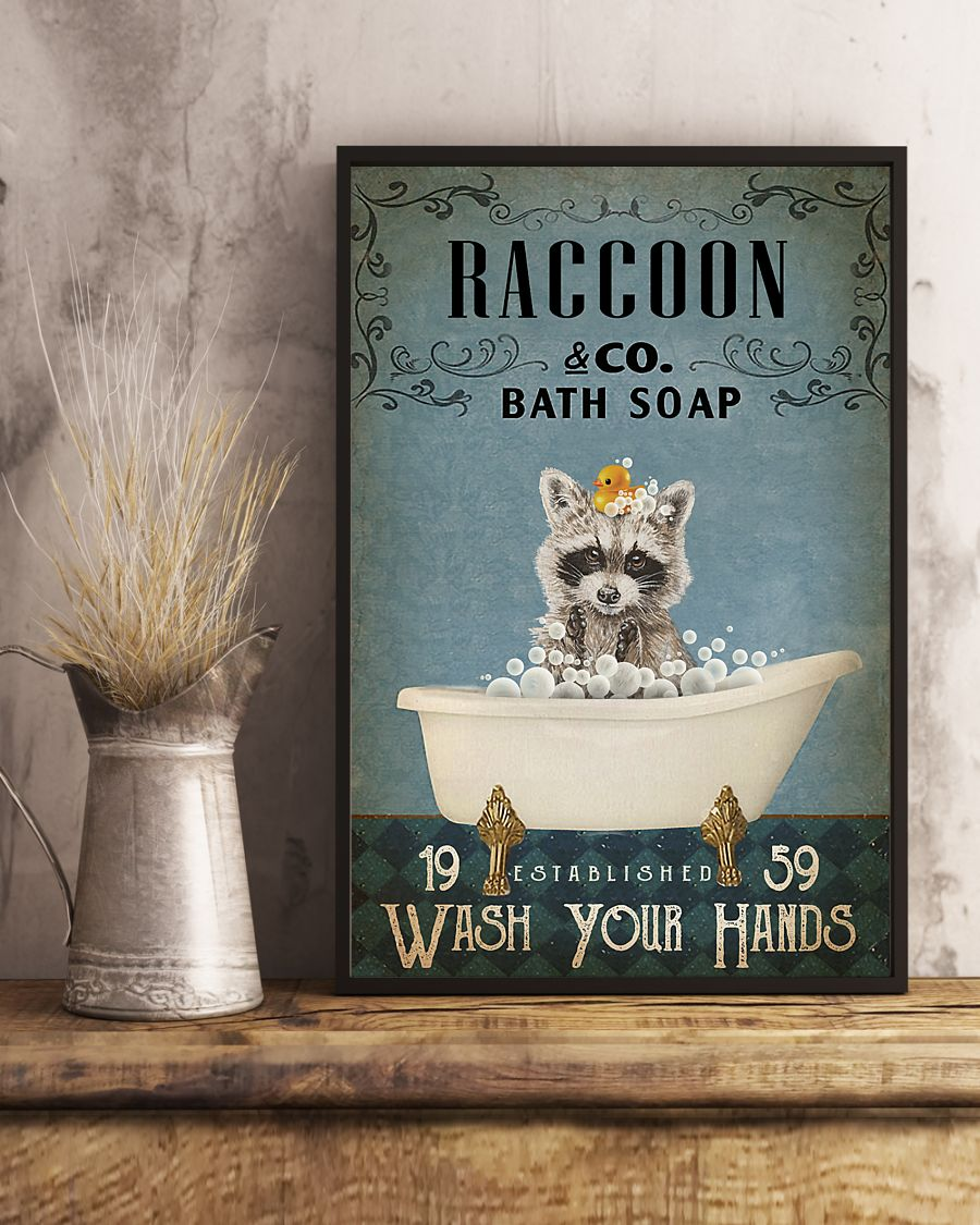 raccoon co bath soap wash your hands vintage poster 2