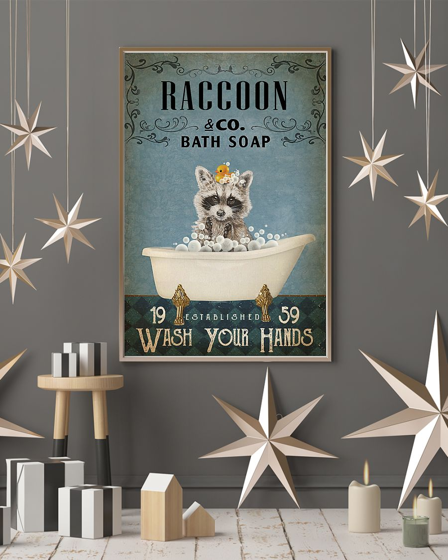 raccoon co bath soap wash your hands vintage poster 3
