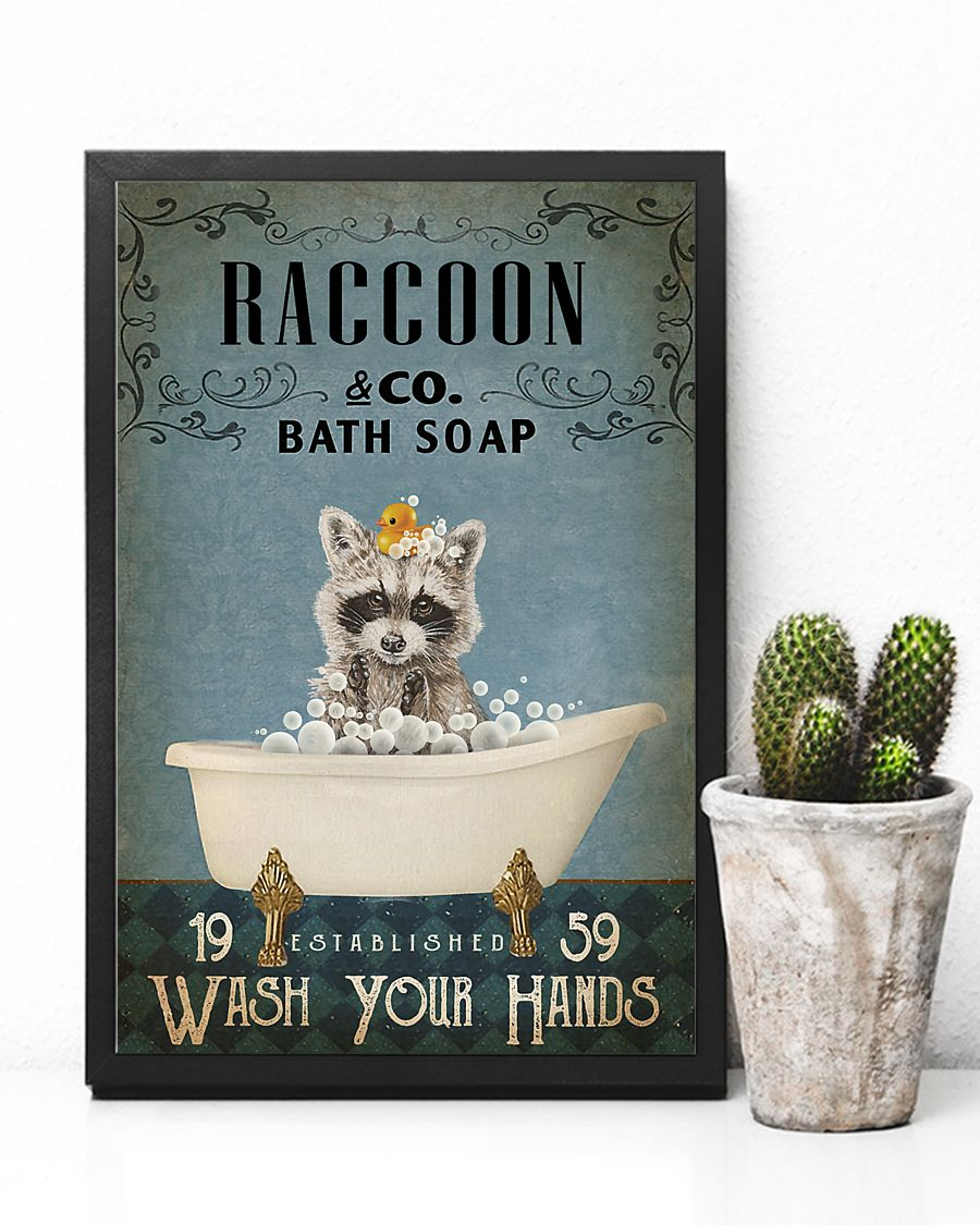raccoon co bath soap wash your hands vintage poster 4