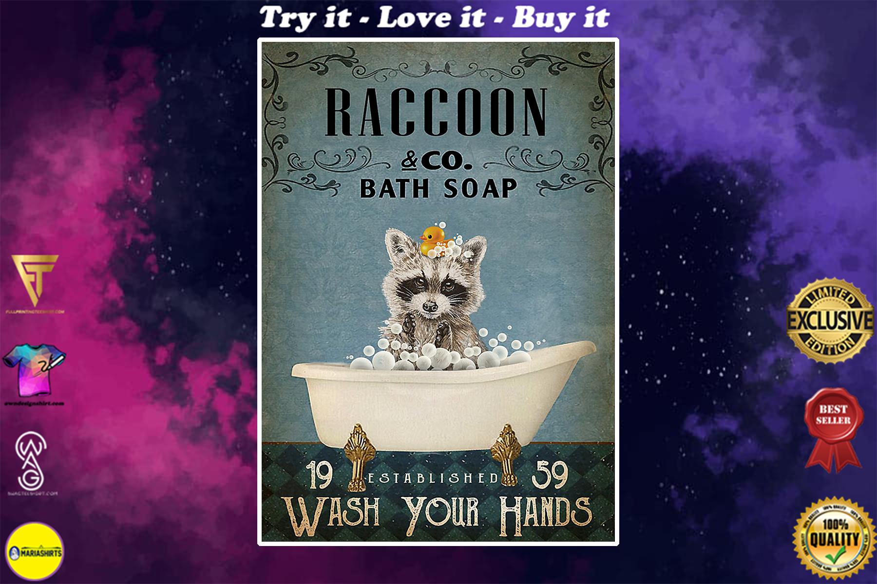 raccoon co bath soap wash your hands vintage poster