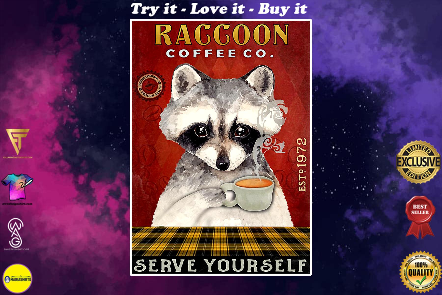 raccoon coffee company serve yourself vintage poster