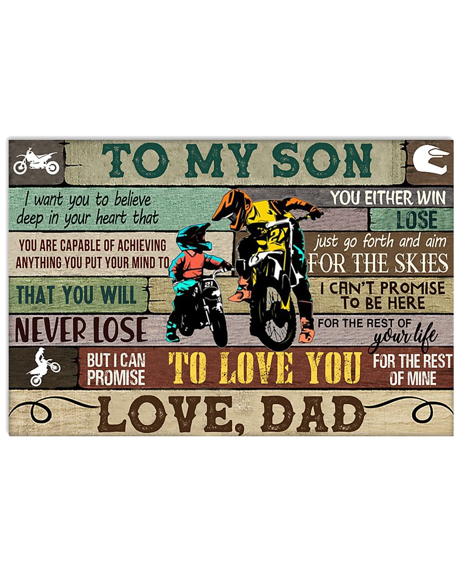 racing motorbike to my son i can promise to love you love dad poster 1