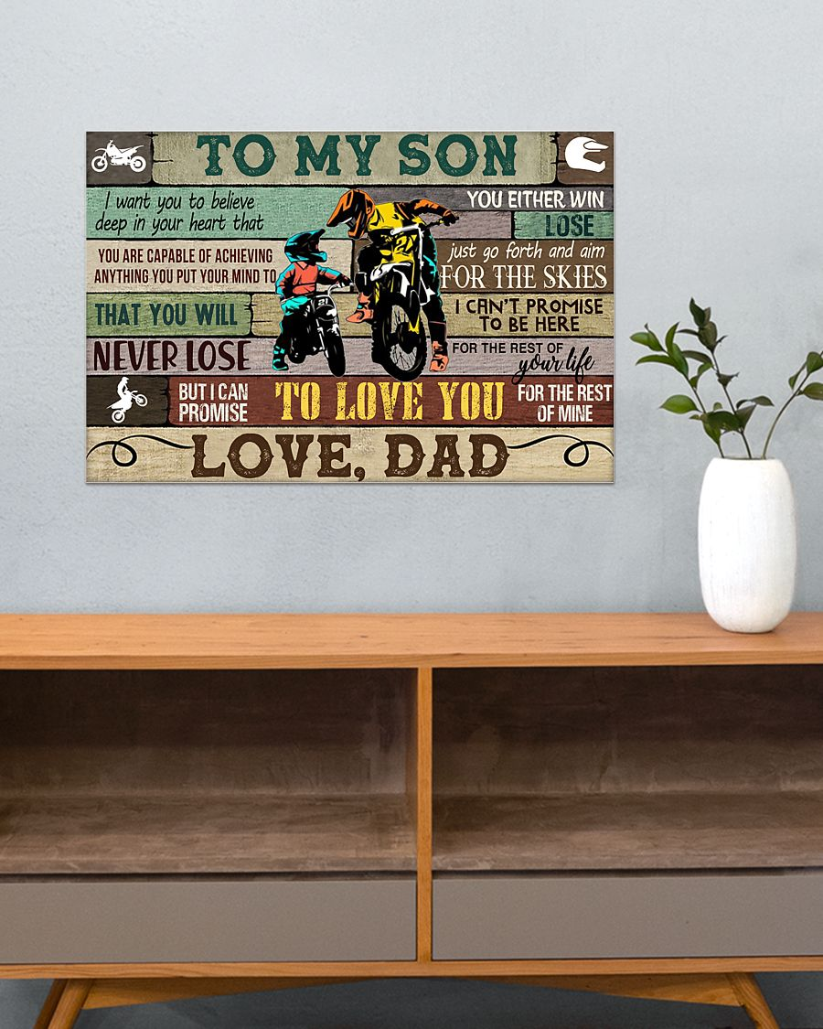 racing motorbike to my son i can promise to love you love dad poster 3