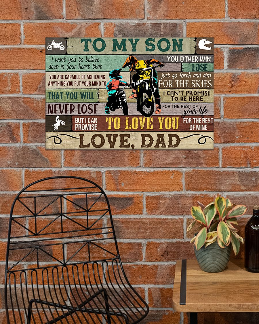 racing motorbike to my son i can promise to love you love dad poster 4