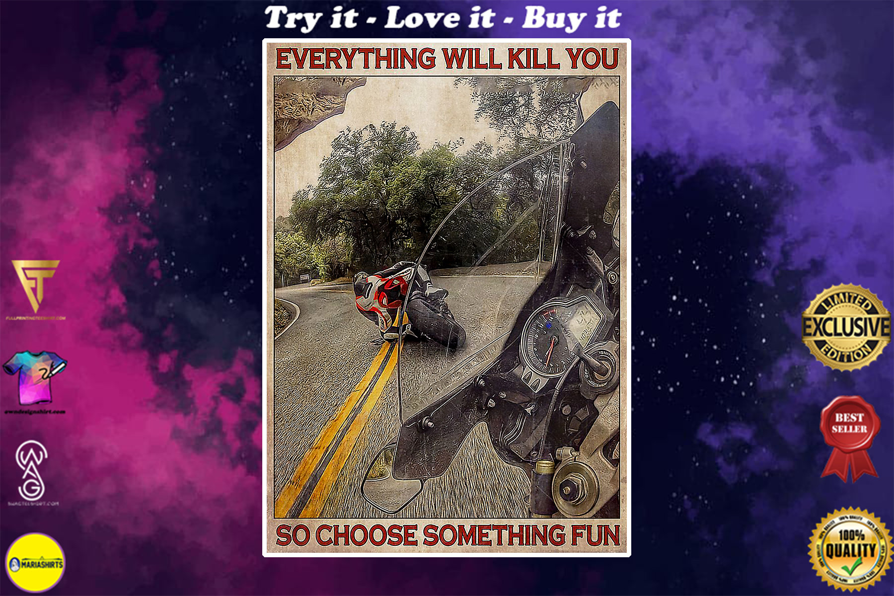 retro everything will kill you so choose something fun motorcycle poster