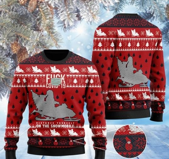 santa claus fuck covid distance yourself on the snowmobile ugly sweater 2
