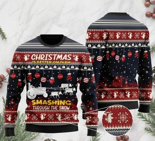 santa claus with reindeer cow christmas is better on farm smashing through the snow for farmer ugly sweater 2