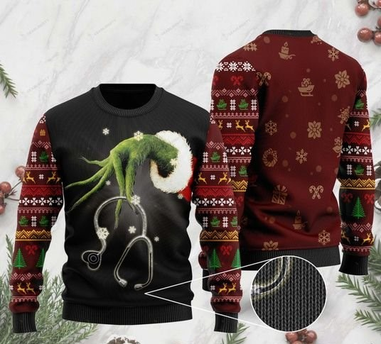 the grinch hold stethoscope nurse full printing ugly sweater 2