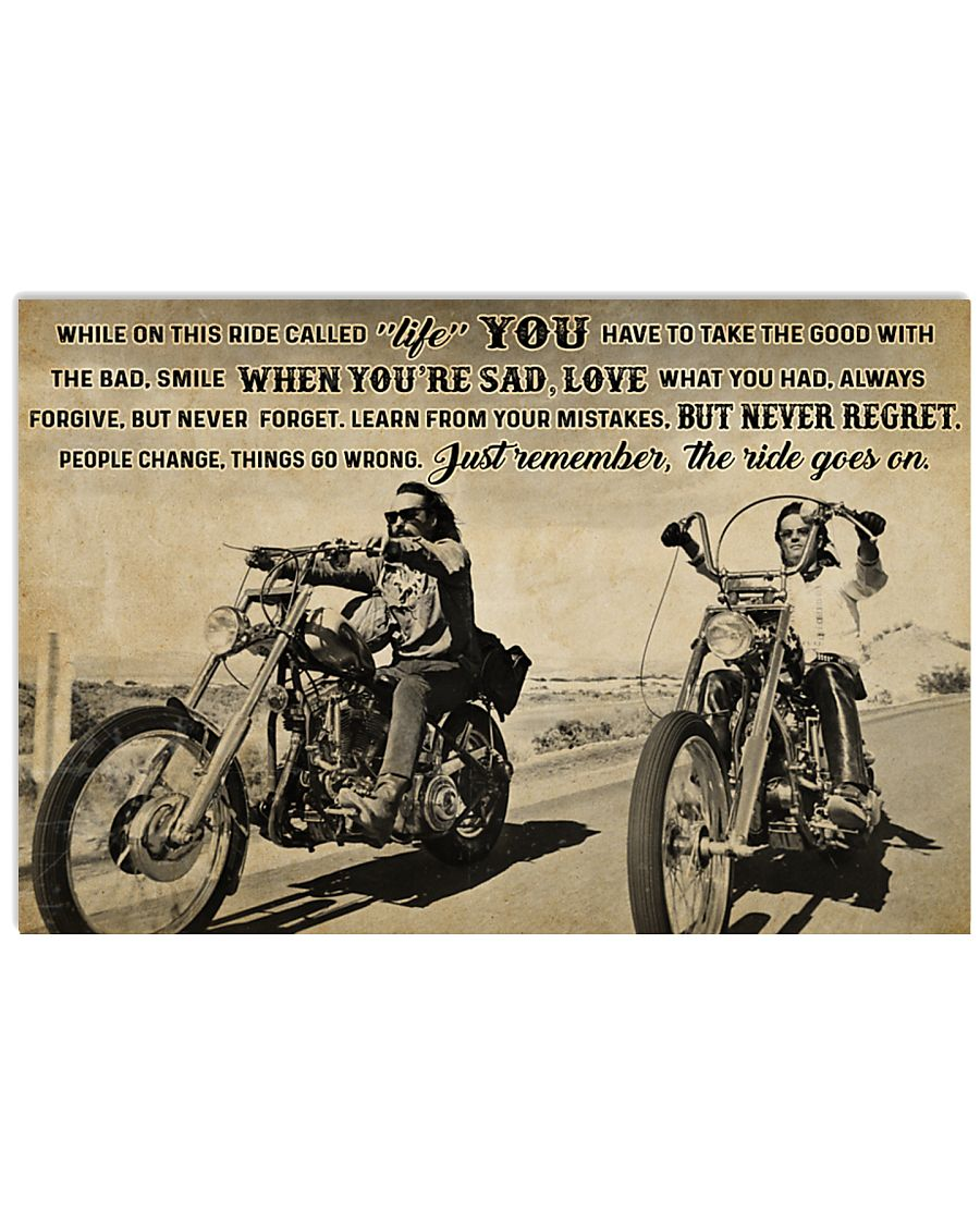 vintage biker while on this ride called life just remember the ride goes on poster 1