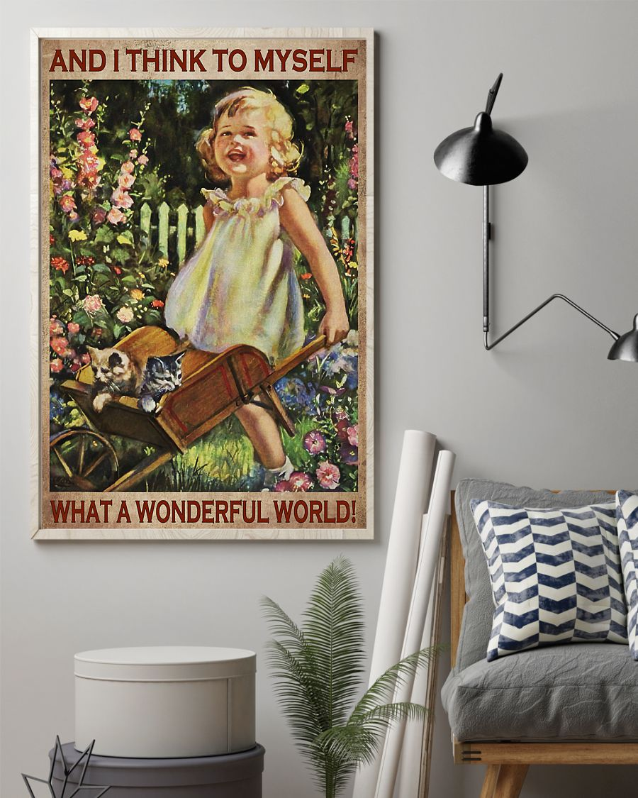 vintage garden girl and i think to myself what a wonderful world poster 2