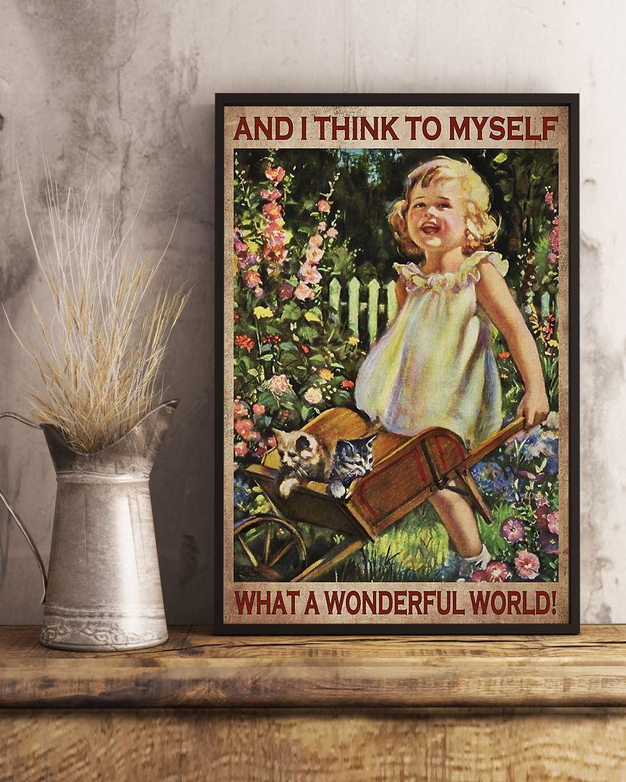 vintage garden girl and i think to myself what a wonderful world poster 3