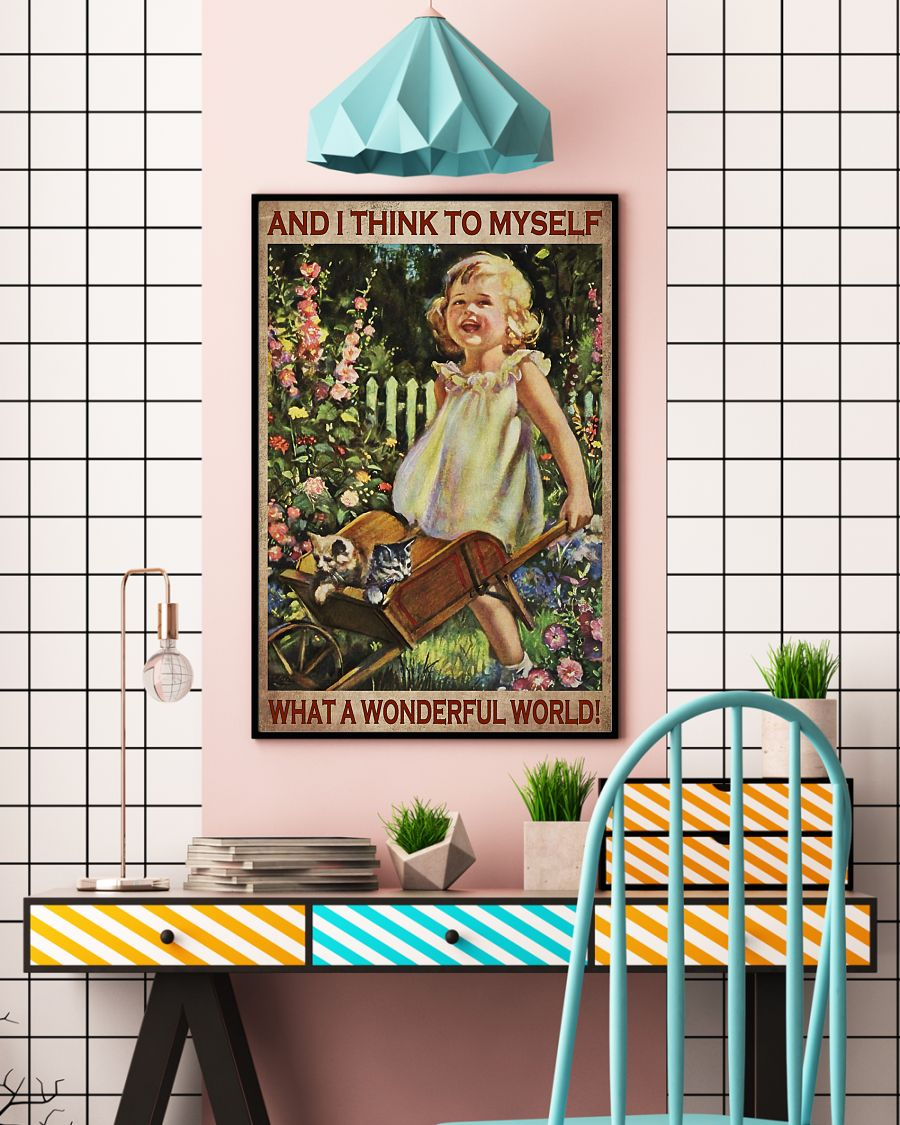 vintage garden girl and i think to myself what a wonderful world poster 4