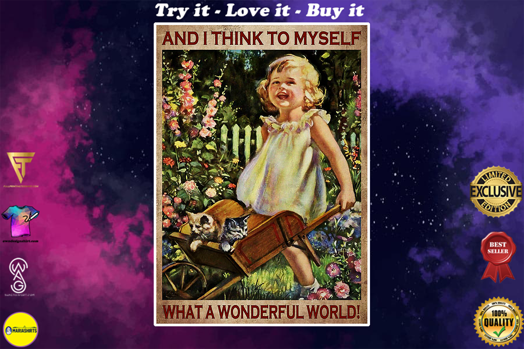 vintage garden girl and i think to myself what a wonderful world poster