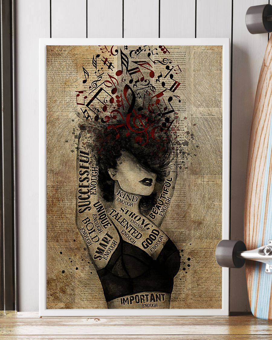 vintage girl and music i am kind enough beautiful enough strong enough poster 2