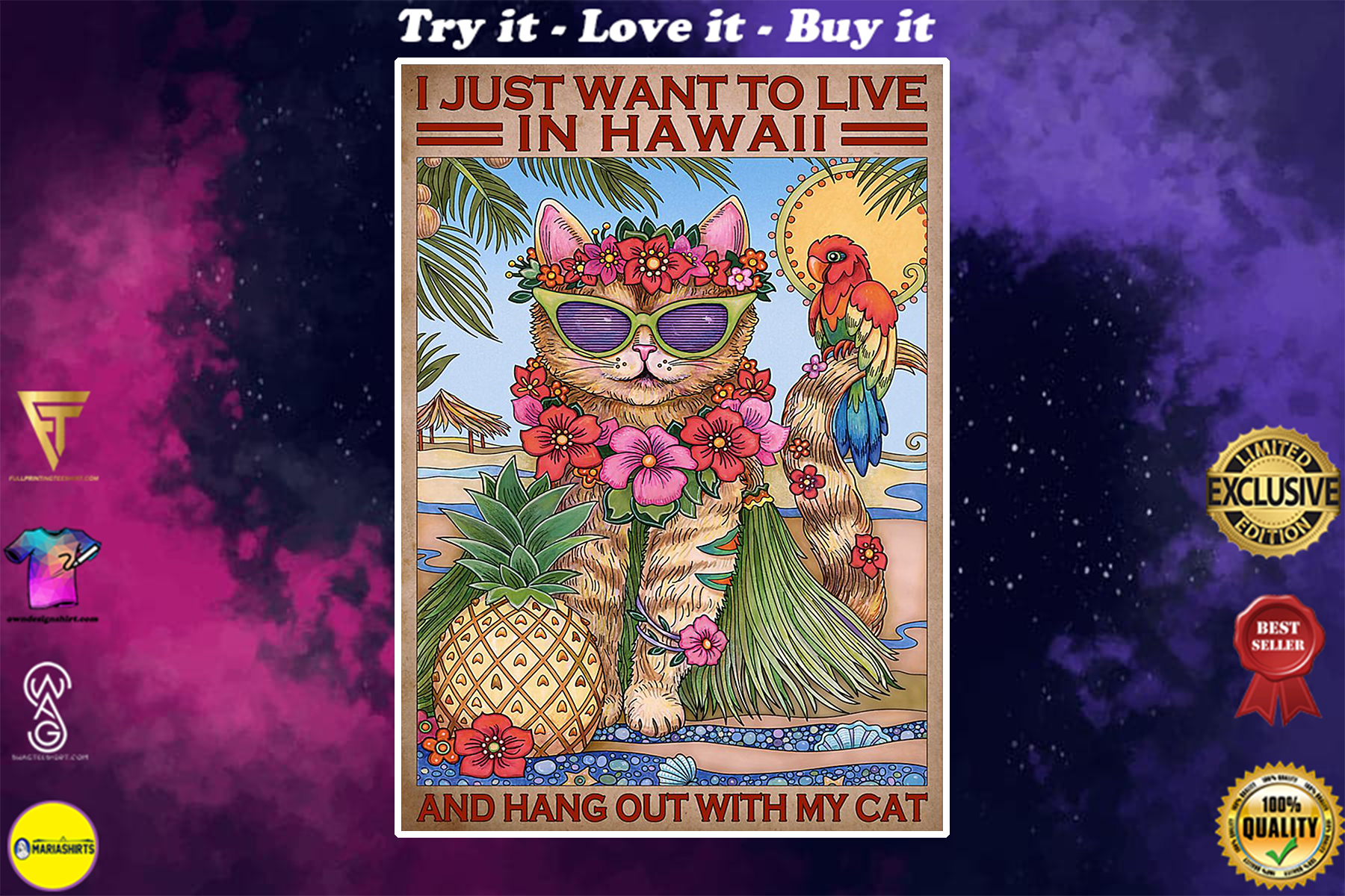 vintage i just want to live in hawaii and hang out with my cat poster poster