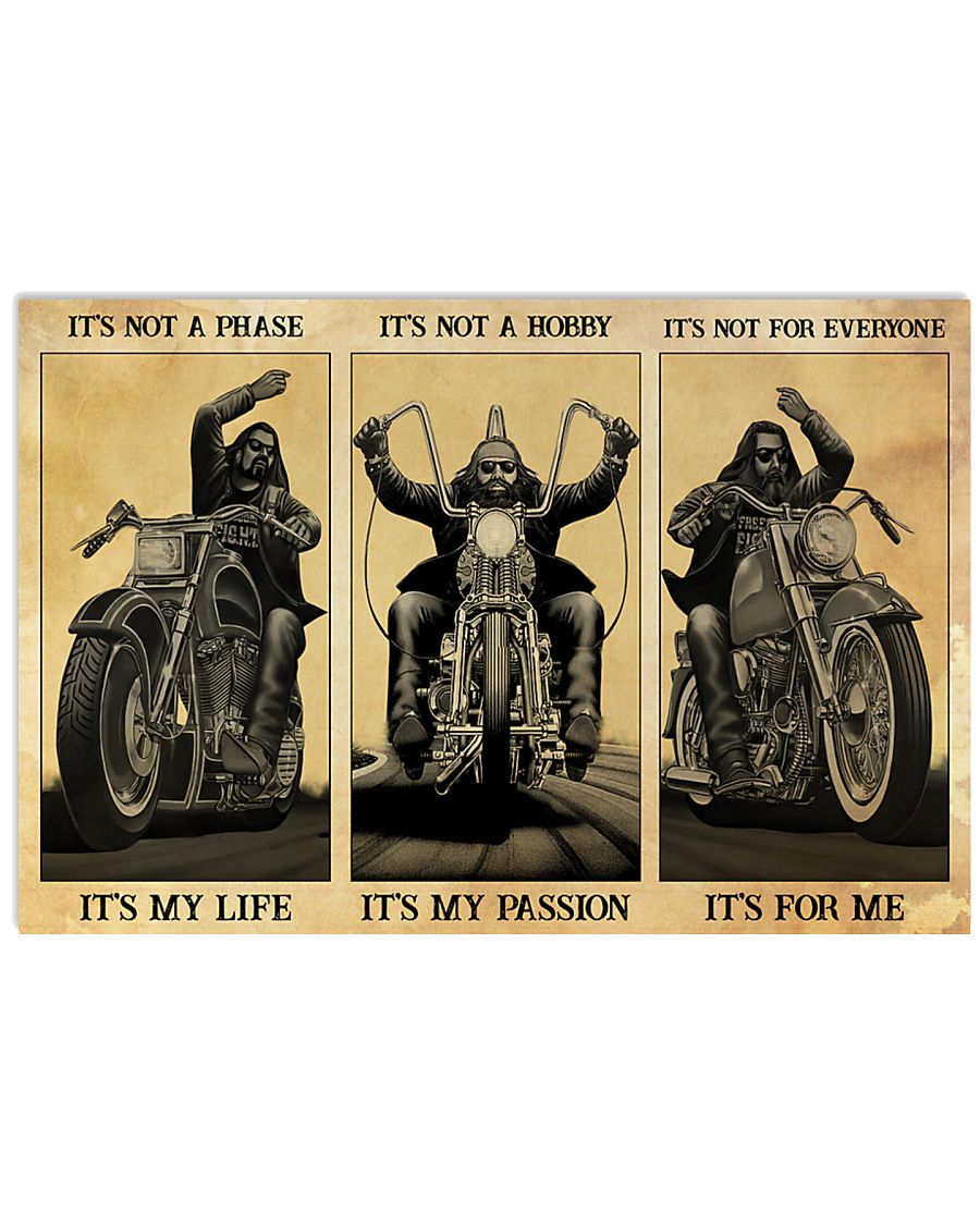 vintage man motorcycle its not a phase its my life its not a hobby its my passion poster 1