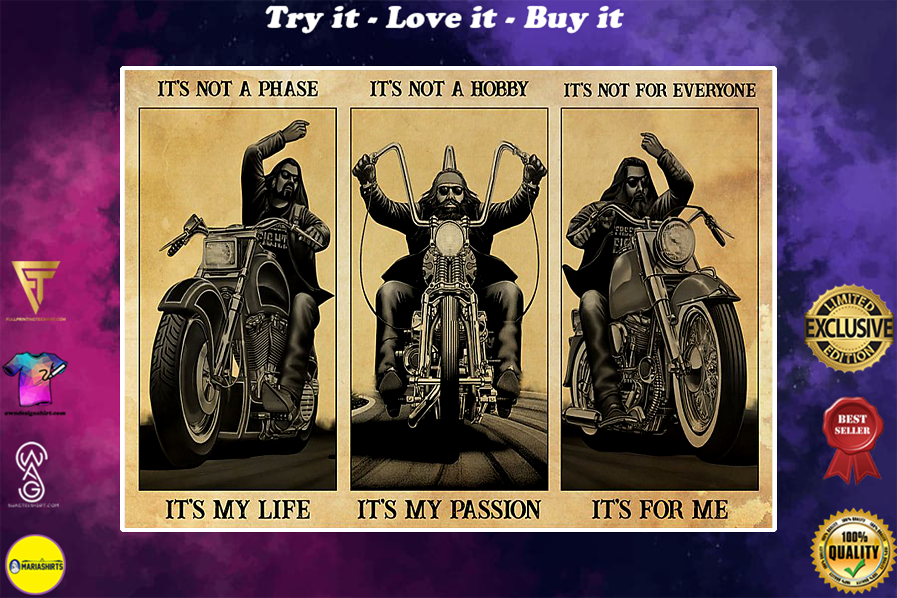 vintage man motorcycle its not a phase its my life its not a hobby its my passion poster